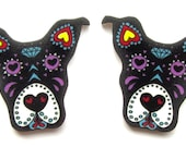 Pitbull Earrings Sugar Skull Style Dog in Black by Dolly Cool