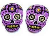 Sugar Skull Earrings Purple & Black by Dolly Cool