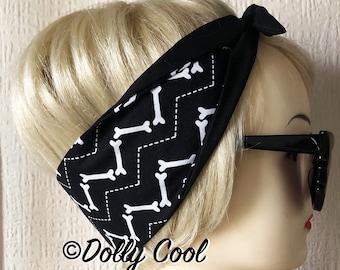 Bone Hair Tie Print Rockabilly Head Scarf by Dolly Cool - Spooky - Occult - Dark Arts - Witchy - Gothic - Zig Zag - Bones
