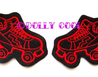 Roller Derby patch Pair of winged Red Skate by Dolly Cool. More and custom cols available