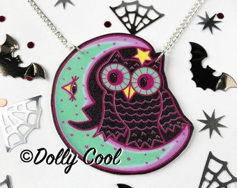 Owl and Moon Necklace by Dolly Cool  - Creepy Cute - Halloween - Celestial