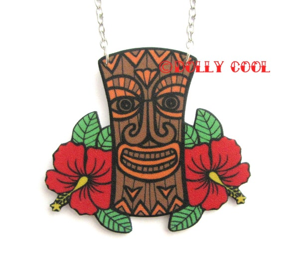 Tiki Necklace With Hibiscus Flower