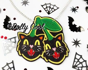 Cat Cherry Necklace by Dolly Cool  - Kitty - Creepy Cute - Cherries - Halloween