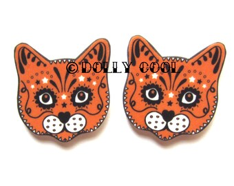 Ginger Cat Earrings Sugar Skull Style by Dolly Cool Kitty Day of the Dead