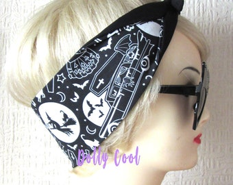 Haunted Hearse Hair Tie Head Scarf Wrap by Dolly Cool - Halloween - Witch - Coffin - Bats - Pumpkin - Self Designed Fabric