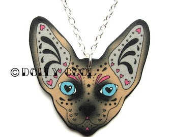 Seal Point Sphynx Cat Necklace Sugar Skull Style by Dolly Cool Kitty Day of the Dead