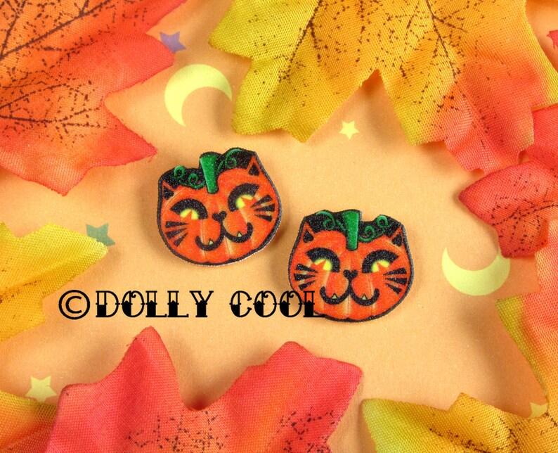 Pumpkin Cat Earrings by Dolly Cool Kitty Jack O Lantern image 0