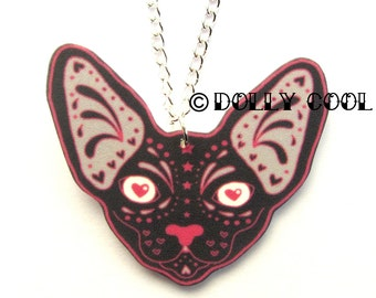 Sphynx Cat Necklace Sugar Skull Style by Dolly Cool Kitty Day of the Dead