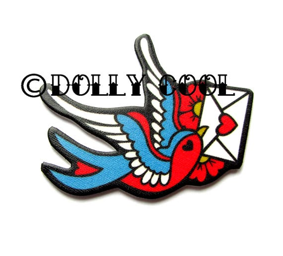 Swallow Brooch Tattoo Style With Love Letter By Dolly Cool Etsy