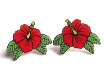Hibiscus earrings Tropical by Dolly Cool