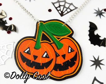 Pumpkin Cherry Necklace by Dolly Cool  - Creepy Cute - Cherries - Jack O Lantern - Halloween