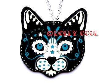 Tuxedo Cat Necklace Sugar Skull Style by Dolly Cool Black White Kitty Day of the Dead