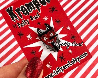 Krampus Enamel Pin by Dolly Cool - Novelty Pin - Christmas Devil - Gruss Vom Krampus - Gothic - Horror - Bavarian Folklore