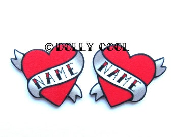 Heart Earrings Personalized name Tattoo style by Dolly Cool Traditional Old School custom Personalised