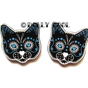 Day of the Dead Sugar Skull Kitty Cat Earrings Cats in Grey THE ORIGINAL