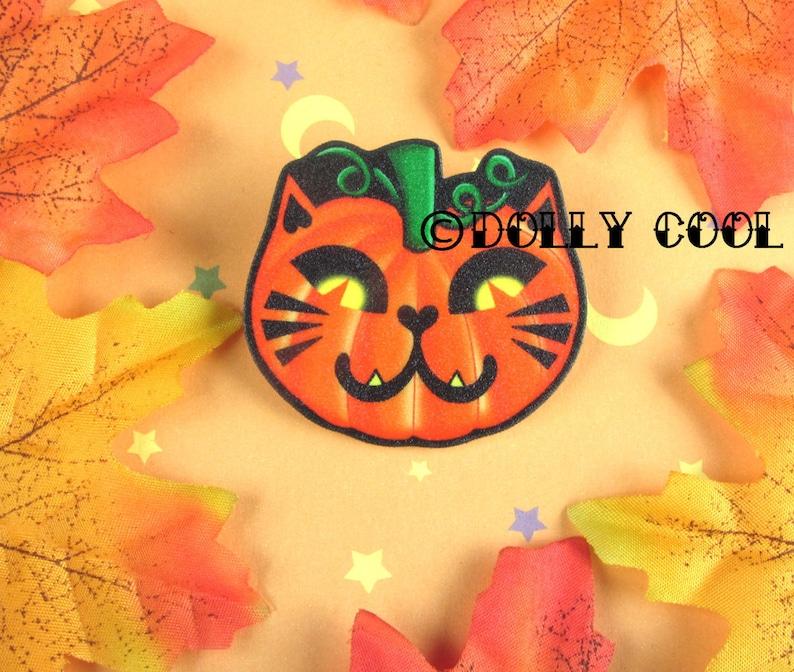 Pumpkin Cat Brooch Pin by Dolly Cool Kitty Jack O Lantern image 0