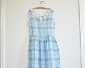 Vintage Blue and White Plaid Dress