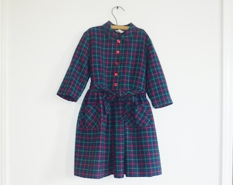 Vintage Navy Plaid Girl's Dress