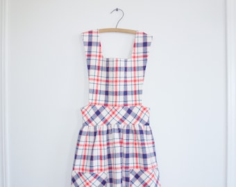 Vintage Blue, White and Red Plaid Dress