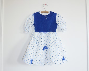 Vintage Blue Polka Dot Bubble Dress