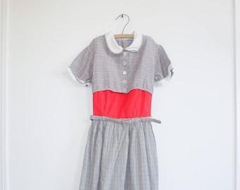 Vintage Plaid Belted Girl's Dress
