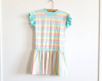 Vintage Girl's Stripe Drop Waist Dress