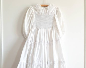 Vintage White Girl's Smocked Dress