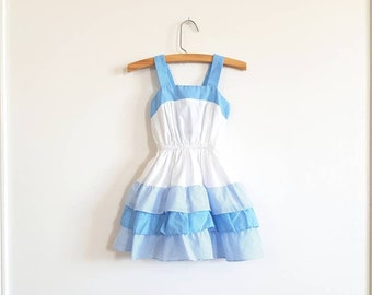 Vintage Blue and White Ruffle Sundress