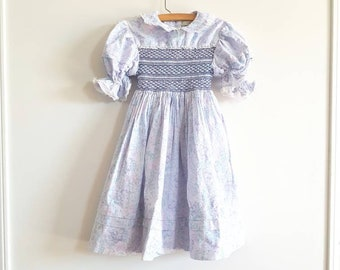 Vintage Blue Smocked Dress