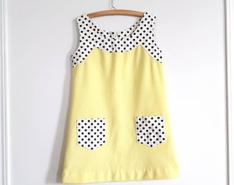 Vintage Yellow Polyester Girl's Dress