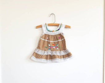 Vintage Brown Baby Sundress