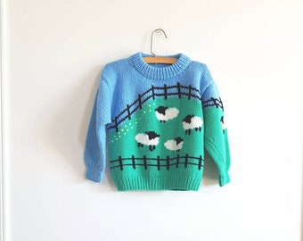 Vintage Blue and Green Sheep Sweater
