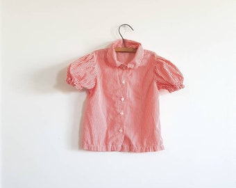 Vintage Red Stripe Girl's Blouse