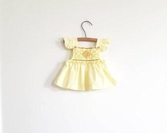 Vintage Yellow Infant Smocked Dress