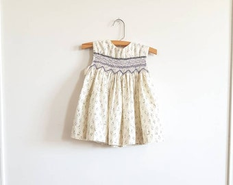Vintage Cream Floral Toddler Dress