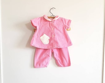 Vintage Pink Corduroy Girl's Outfit