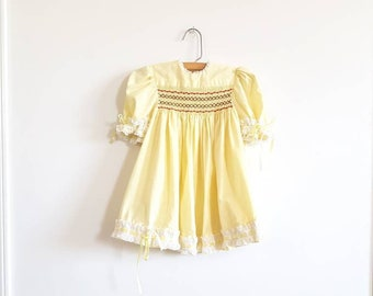 Vintage Yellow Smocked Dress