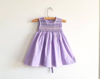Vintage Purple Smocked Dress