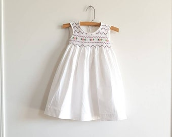 Vintage White Sleeveless Smocked Dress