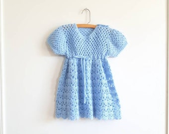 Vintage Blue Knit Girl's Dress