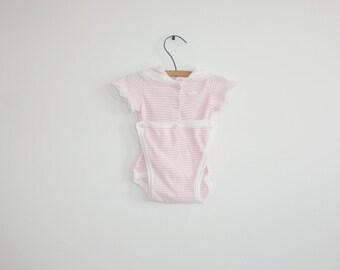 Vintage Pink Stripe Onesie