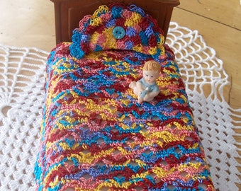 Miniature Dollhouse Crochet Bedspread/duvet with Pillow Mardi Gras Colors