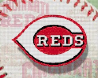 MLB Cincinnati Reds Baseball Counted Cross Stitch Pattern