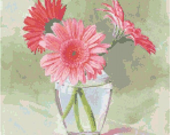 Coral Gerbera Daisy Flower Counted Cross Stitch Pattern