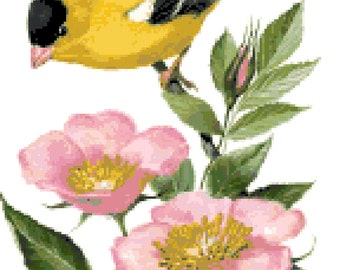 Iowa State Bird & Flower Counted Cross Stitch Pattern
