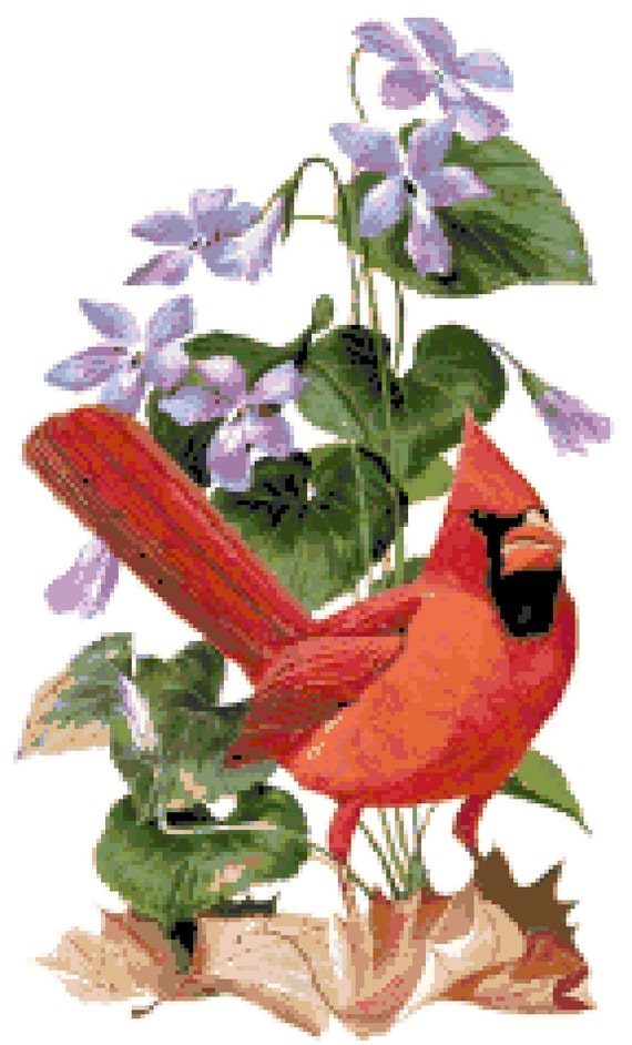 illinois state bird flower counted cross stitch pattern etsy