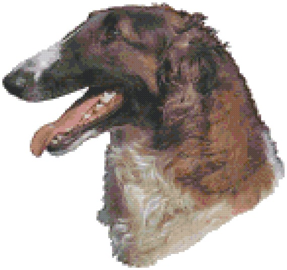 Brindle Boxer Euro Dog Portrait Counted Cross Stitch Pattern