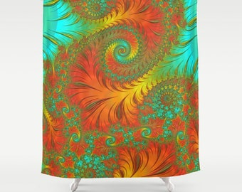 Orange Yellow Aqua Fractal Shower Curtain Sacred Geometry Trippy Bathroom Decor Mandelbrot Infinity Home Idea FREE SHIPPING USA