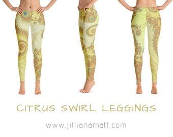Lemon Yellow Gold Leggings, Sacred Geometry Fractal Infinity Clothing, Burning Man Festival Dance Clothes, Millennial Trippy Yoga Pants