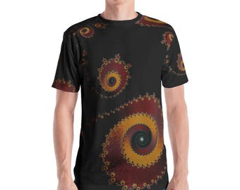 Men's Black Red Yellow Fractal T-Shirt, Fractal Clothing, Fractal Clothes, Sacred Geometry clothing, Infinity Clothes, Festival Clothing